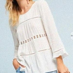 Anthropologie Mauve ivory peasant swing top